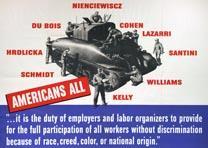 """Americans All"" poster, War Manpower Commission, Washington DC, 1942. (GLC09530)"
