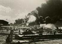 Aircraft on fire at Pearl Harbor, December 7, 1941(Gilder Lehrman Collection)