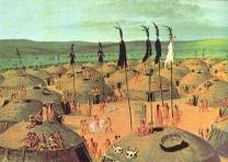 Vila Mandan per Catlin. Painting of a Mandan village by George Catlin. Circa 183