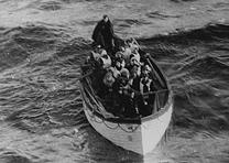 Lifeboat carrying Titanic shipwreck survivors. (National Archives)