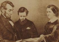 Abraham, Tad, and Mary Lincoln, carte de visite, ca. 1865 (GLC00241.03)