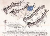 Lithograph of the Emancipation Proclamation, designed by a 14-year-old Californi