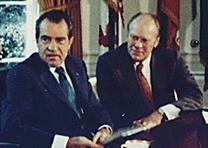 Nixon and Ford in the Oval Office, 1973 (National Archives)