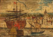 New York in 1750, a fore-edge painting on History of the University and colleges