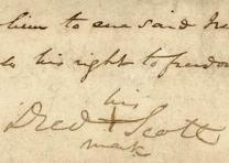 Detail from Dred Scott's Signed Petition of 1846  (Courtesy Washington Universit