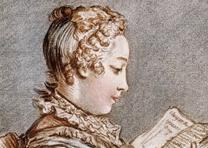 Woman reading a book (Eloyse et Abailard) after Fragonard