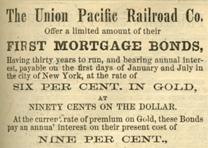 Advertisement for shares in the Union Pacific Railroad, Harper's Weekly, August
