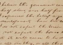 "Fragment of Lincoln's ""House Divided"" speech, ca. 1857. (GLC02533)"