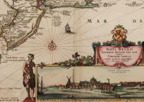 The mid-Atlantic colonies with an inset of New Amsterdam from a 1682 map. (Gilde