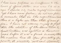 Abraham Lincoln's notes for a speech on the abolition of slavery, ca. 1858.