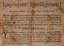 News of the Battle of Yorktown was published in Boston one week after Cornwallis