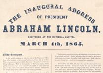Abraham Lincoln's Second Inaugural Address, March 4, 1865. (GLC06044)