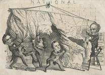 [Dividing the] National [Map]. [Cincinnati], 1860. (LC-DIG-ppmsca-33122)