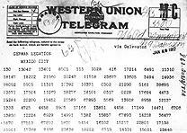 Zimmermann Telegram, January 19, 1917. (National Archives)
