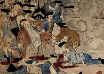 "Detail of Crispus Attucks' death from ""The Bloody Massacre"" by Paul Revere, 1770"
