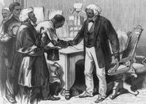 Engraving of Frederick Douglass as US Marshal in Washington DC, from Frank Lesli