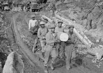 Army engineers build the Alcan Highway, ca. 1942. (US Army Corps of Engineers)