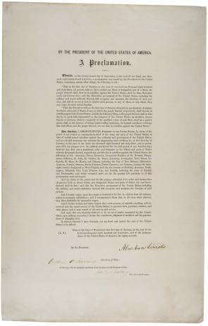 President Abraham Lincoln's Emancipation Proclamation, published 1864. (Gilder Lehrman