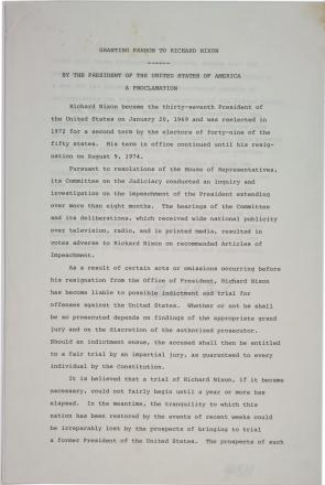 Gerald Ford, A Proclamation pardoning Richard Nixon, September 8, 1974. (Gilder Lehrman Collection)