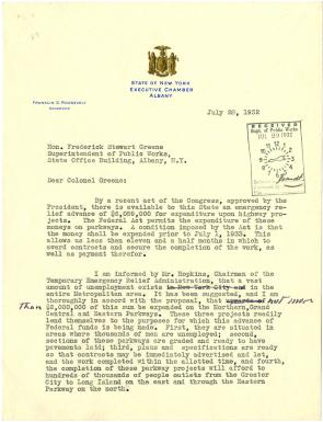 Franklin D. Roosevelt to Frederick S. Greene, July 28, 1932. (GLC00224)