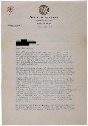 George Wallace to Ms. Martin, April 11, 1964. The name and address of the letter's recipient have been redacted for privacy. (Gilder Lehrman Collection)