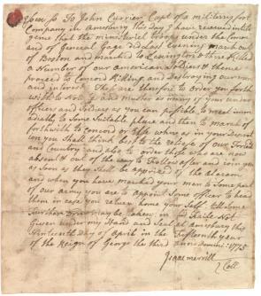 Isaac Merrill to John Currier, April 19, 1775. (Gilder Lehrman Collection)