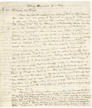 John Adams to Benjamin Rush, November 11, 1807. (GLC00424)