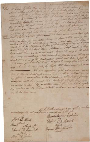 The Brotherton Indians' agreement to oppose white settlement, January 6, 1780. (GLC00540.01)