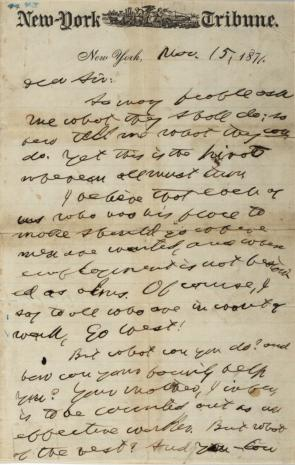 Horace Greeley to R. L. Sanderson, November 15, 1871 (Gilder Lehrman Collection)