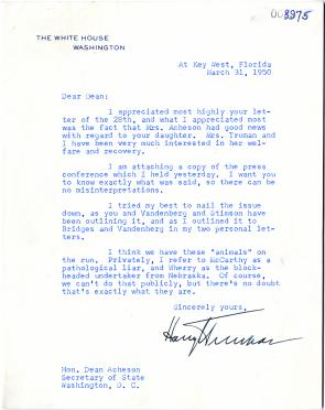 Harry S. Truman to Dean Acheson, March 31, 1950. (GLC00782.22)