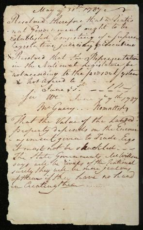 Pierce Butler's Notebook, page 1. (The Gilder Lehrman Col
