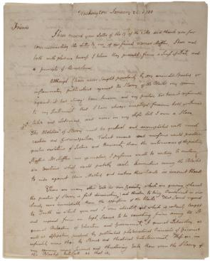 John Adams to George Churchman and Jacob Lindley, January 24, 1801. (Gilder Lehrman Collection)