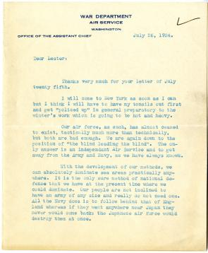 William E. Mitchell to Lester D. Gardner, July 26, 1924 (Gilder Lehrman Collection)