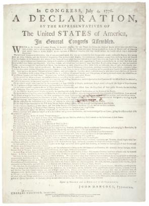 The Declaration of Independence, printed in Charleston,  August 2, 1776