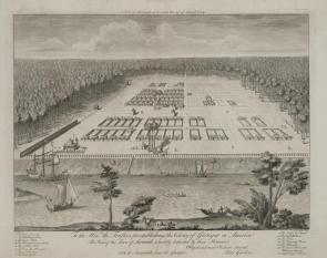 A view of Savanah [sic] as it stood the 29th of March, 1734, engraving by Pierre Fourdrinier after a drawing by Peter Gordon, London, 1735. (Library of Congress Prints and Photographs Division)