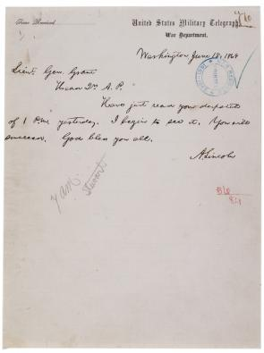 Abraham Lincoln to Ulysses S. Grant, June 15, 1864. (Gilder Lehrman Collection)
