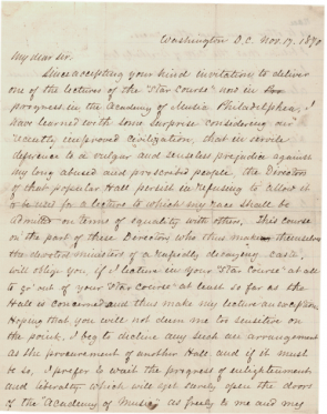 Frederick Douglass to Thomas B. Pugh, November 17, 1870 (GLC01954)