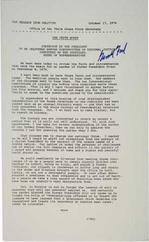 Gerald Ford's Statement before Subcommittee on Criminal Justice regarding his pardon of Nixon, October 17, 1974. (Gilder Lehrman Collection)