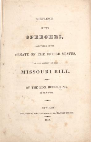 Rufus King's Substance of Two Speeches, Delivered in the Senate of the United States on the Subject of the Missouri Bill, November 22, 1819.  (GLC02384)