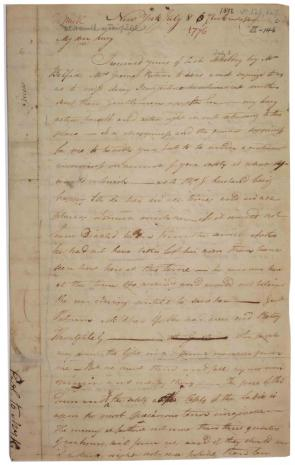Henry Knox to Lucy Knox, July 8, 1776. (Gilder Lehrman Collection)