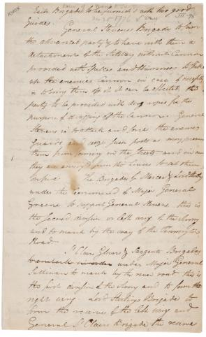 Henry Knox, Order of March to Trenton, December 25, 1776 (Gilder Lehrman Collect