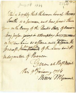 Henry Knox, Certification of Romeo Smith as a freeman, January 9,1784. (Gilder L