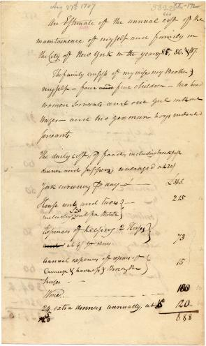 Henry Knox. An Estimate of the annual expense of family