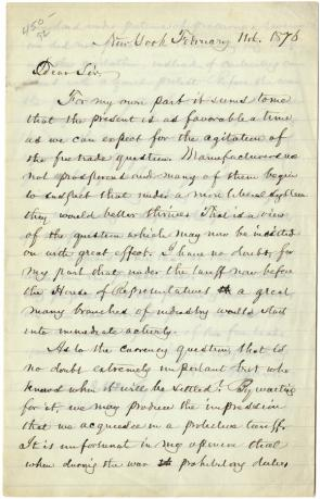 William C. Bryant to Hamilton A. Hill, February 11, 1876. (GLC02595)