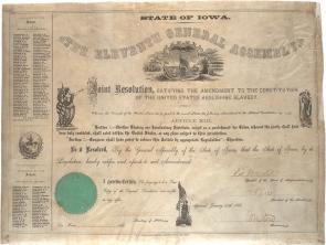 Iowa joint resolution ratifying the 13th Amendment, March 30, 1866. (GLC02631)