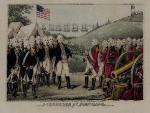 Surrender of Cornwallis, print by James S. Baillie, 1845 (GLC02918.02)