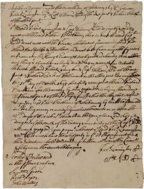 Agreement between Livingston and Kidd, and Blackham, 1696. (GLC03107.00239)