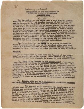 Preliminary statement of the Association of Manhattan District Scientists, August 1945. (Gilder Lehrman Collection)