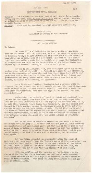 Franklin D. Roosevelt, [Press release of speech delivered on Memorial Day at Gettysburg, Pennsylvania], May 30, 1934. (Gilder Lehrman Collection)