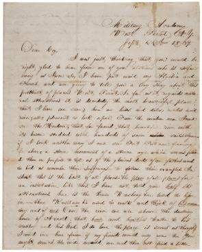 Ulysses S. Grant to R McKinstrey Griffith, September 22, 1839. (Gilder Lehrman C